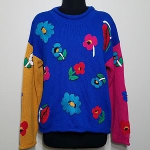 Retro Sweater Colorblock Floral Embroidered Raw He